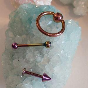 🇨🇦 Titanium body jewelry set (of 3)